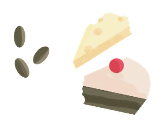 Produits laitiers, gâteaux, sucreries, noix, écailles